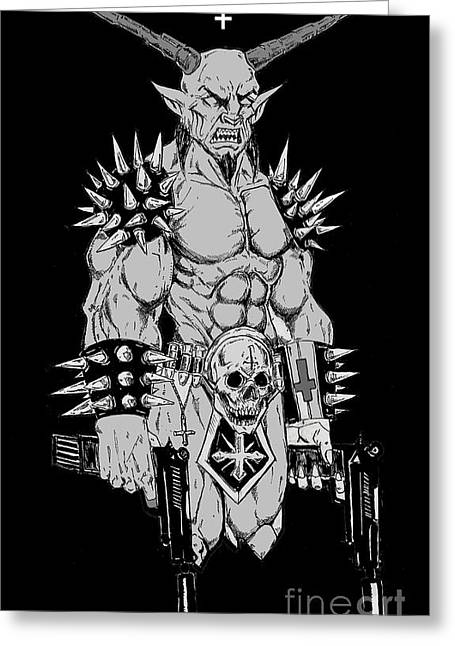 Levi Drawings Greeting Cards - Goatlord Hit List Grey Greeting Card by Alaric Barca