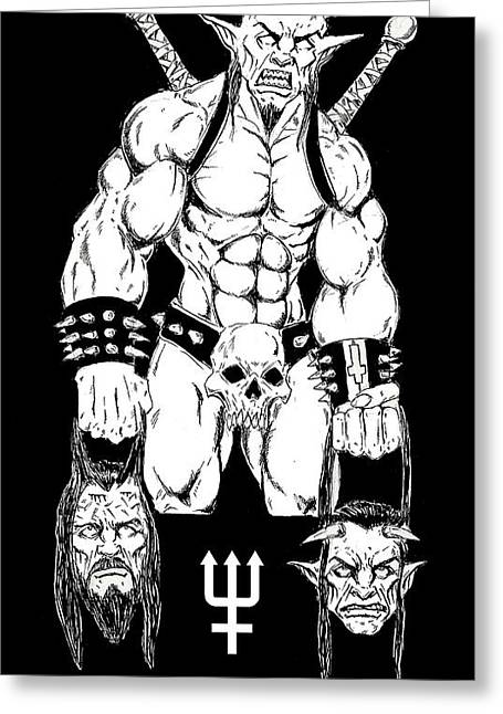 Levi Drawings Greeting Cards - Goatlord Justice Greeting Card by Alaric Barca