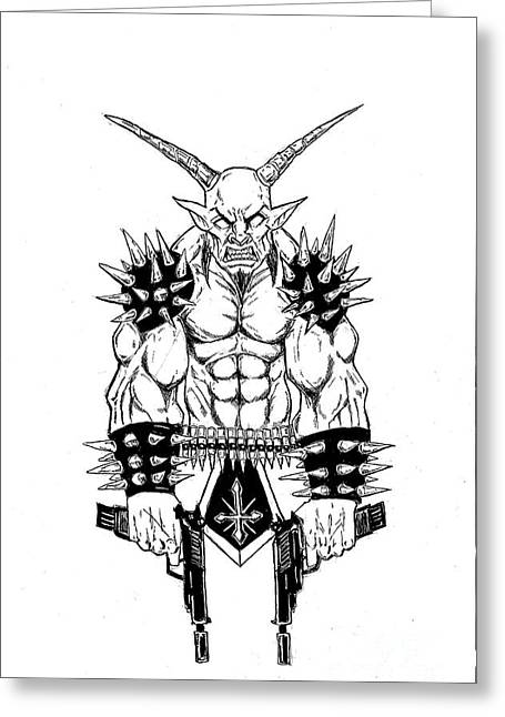 Levi Greeting Cards - Goatlord Vengeance White Greeting Card by Alaric Barca