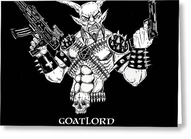 Levi Drawings Greeting Cards - Goatlord Warzone Greeting Card by Alaric Barca