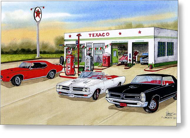Cards Vintage Greeting Cards - Goats GTO Greeting Card by Larry Johnson