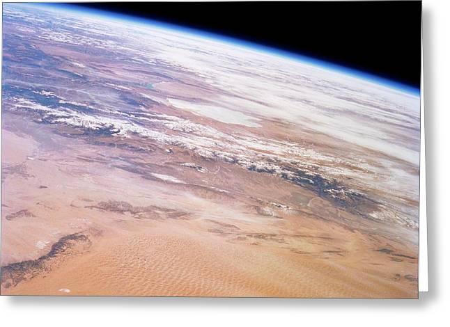 Gobi Desert And Qilian Mountains Greeting Card by Nasa