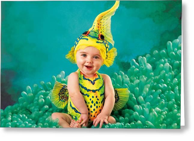 Babies Greeting Cards - Gobi Fish Greeting Card by Anne Geddes