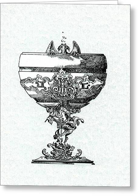 Blue Grapes Drawings Greeting Cards - Goblet Greeting Card by Julio R Lopez Jr