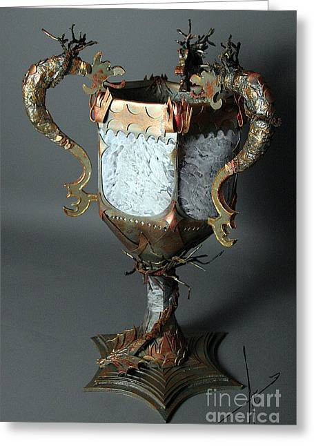 Mixed Media Sculptures Greeting Cards - Triwizard Cup Goblet of Fire Greeting Card by Afrodita Ellerman