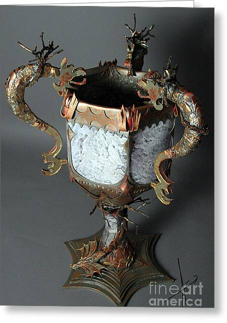 Mixed Media Sculptures Greeting Cards - Goblet of Fire 2 Greeting Card by Afrodita Ellerman