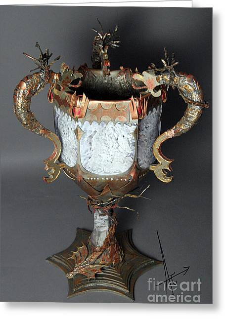 Mixed Media Sculptures Greeting Cards - Goblet of Fire Greeting Card by Afrodita Ellerman