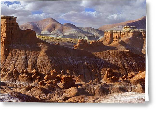 Goblins Greeting Cards - Goblin Valley State Park Panoramic Greeting Card by Mike McGlothlen