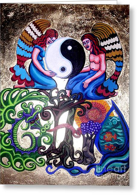 Ying And Yang Greeting Cards - God and Gaia Greeting Card by Genevieve Esson