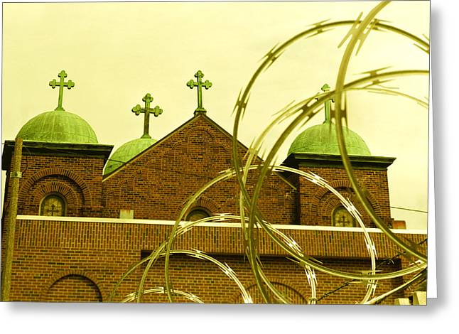 Absurdity Greeting Cards - God and Razor Wire Greeting Card by James Rasmusson