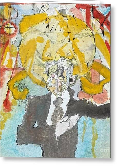 Basquiat Drawings Greeting Cards - God and Taxes Greeting Card by J Ethan Hopper