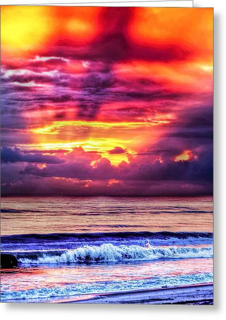North Sea Greeting Cards - God At Work Greeting Card by Laurie Martin