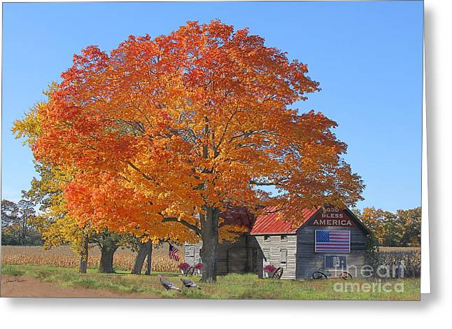 Tin Roof Greeting Cards - God Bless America-Autumn Greeting Card by Jean Plout