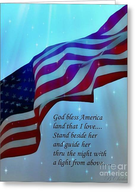 Storm Prints Digital Art Greeting Cards - God Bless America Greeting Card by Barbara Chichester