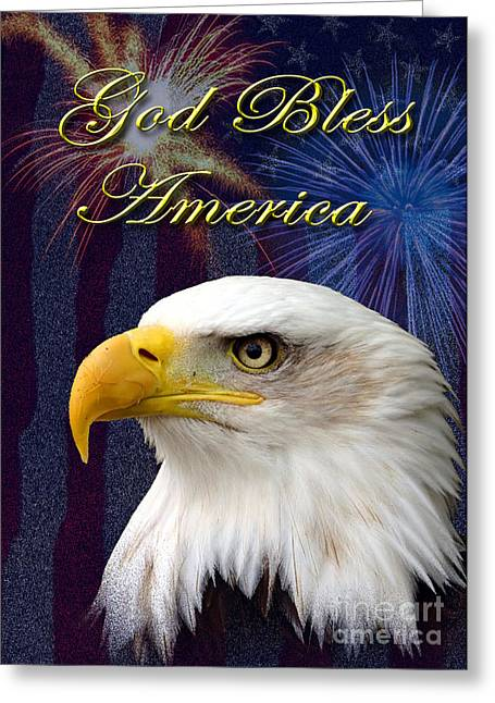 Wildlife Celebration Greeting Cards - God Bless America Eagle Greeting Card by Jeanette K