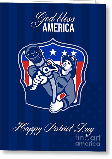 Fireman Posters Greeting Cards - God Bless America Happy Patriot Day Poster Greeting Card by Aloysius Patrimonio