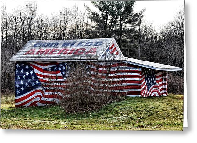 God Bless America Greeting Cards - God Bless America House Greeting Card by Bill Cannon