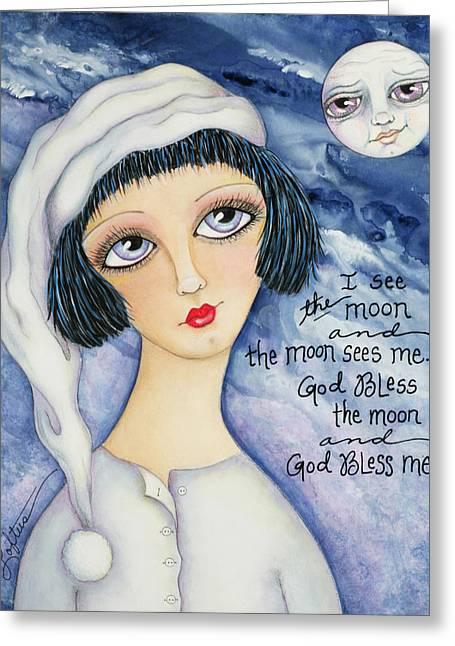 Pajamas Mixed Media Greeting Cards - God Bless Me Greeting Card by Joann Loftus