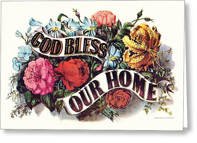 Religious Art Digital Art Greeting Cards - God Bless Our Home Greeting Card by Currier and Ives