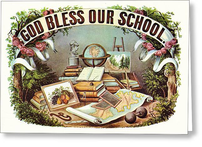 Religious Art Greeting Cards - God Bless Our School Greeting Card by Currier and Ives