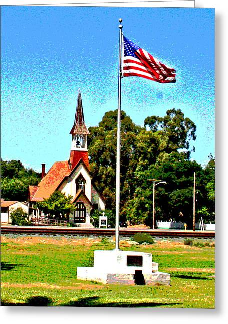 Galt Greeting Cards - God Bless the USA Greeting Card by Joseph Coulombe