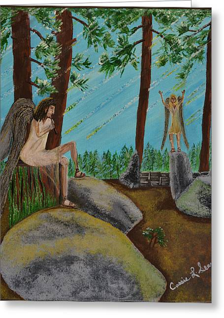 Art-by-cassie Sears Greeting Cards - God calls His angels Greeting Card by Cassie Sears