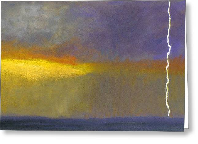 Lightning Pastels Greeting Cards - God Draws a Line Greeting Card by Robert Cook