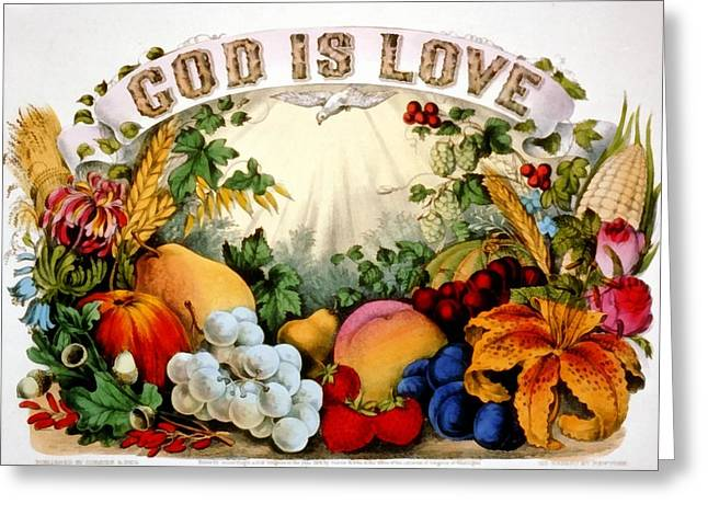 Religious Art Digital Art Greeting Cards - God I Love Greeting Card by Currier and Ives