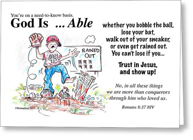 Child Jesus Greeting Cards - God Is Able Greeting Card by George Richardson