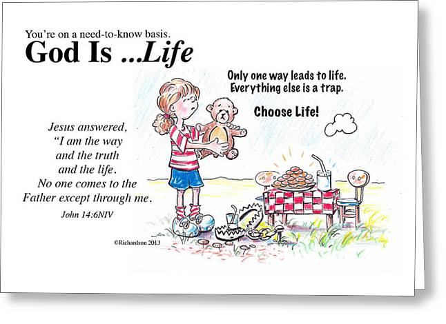 God Is Life Greeting Card by George Richardson