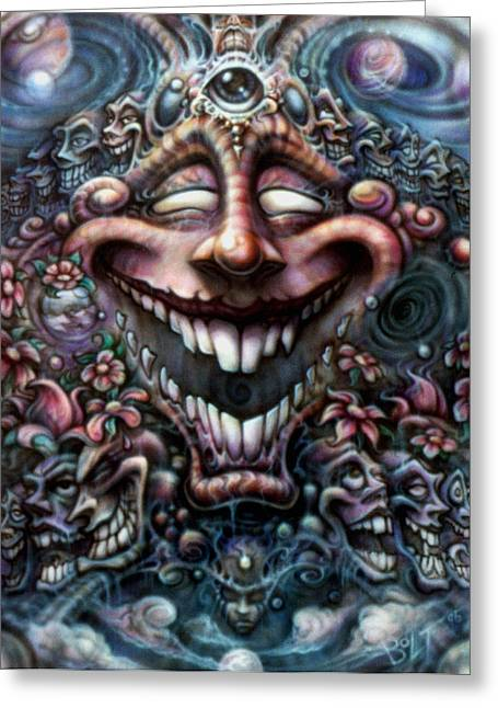 Mind Paintings Greeting Cards - God of Laughter Greeting Card by David Bollt