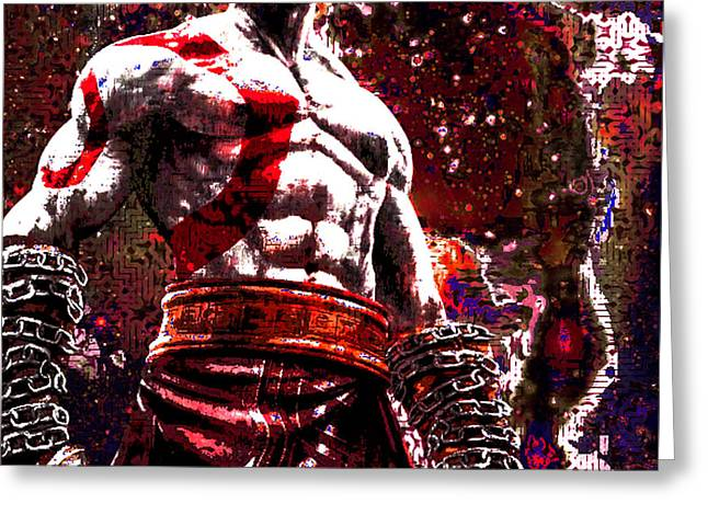 Psp Greeting Cards - God of War Tribute Greeting Card by Andrew Kaupe
