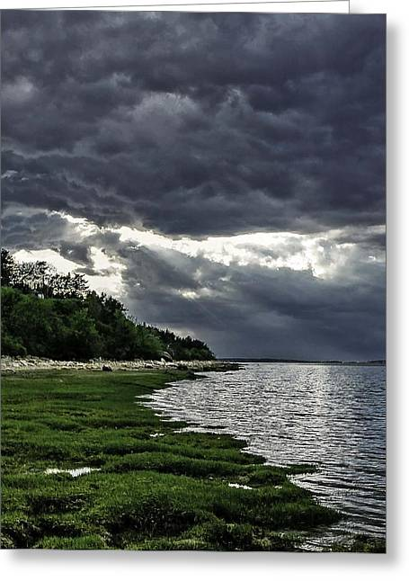 Storm Clouds Cape Cod Greeting Cards - God Rays Greeting Card by Keith Woodbury