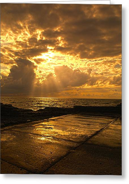 View Framed Prints Greeting Cards - God Rays Greeting Card by Meir Ezrachi