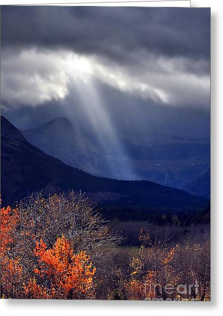 Swiftcurrent Falls Greeting Cards - God Rays over Many Glacier Greeting Card by Deby Dixon