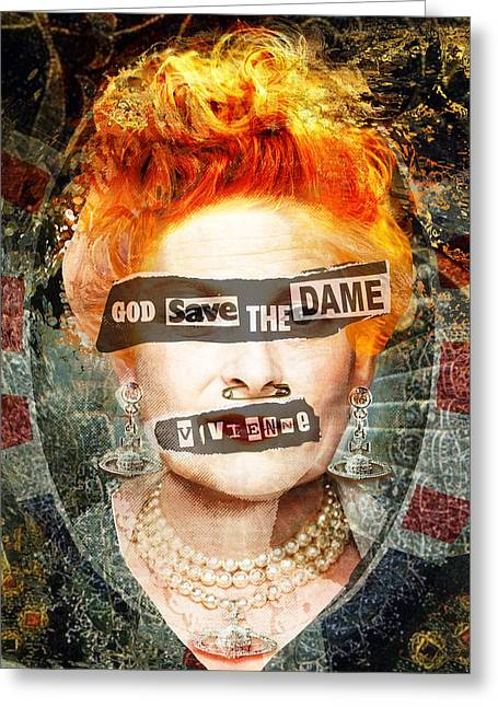 British Celebrities Mixed Media Greeting Cards - God Save the Dame - Vivienne Westwood Portrait Greeting Card by Czar Catstick