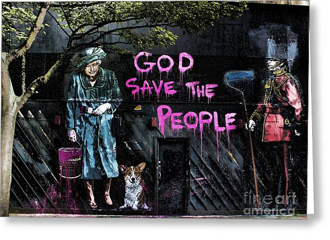 Humor Greeting Cards - God Save The Queen Greeting Card by Jasna Buncic