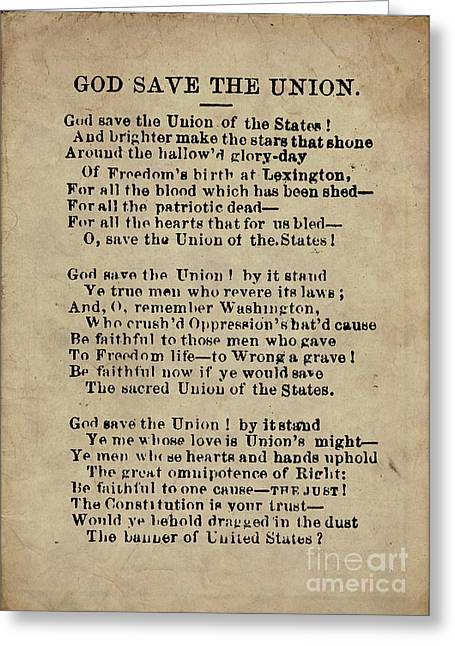 Patriotic Greeting Cards - God Save The Union Greeting Card by God and Country Prints