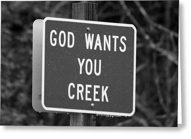 Marie Neder Greeting Cards - God wants you creek Greeting Card by Marie Neder