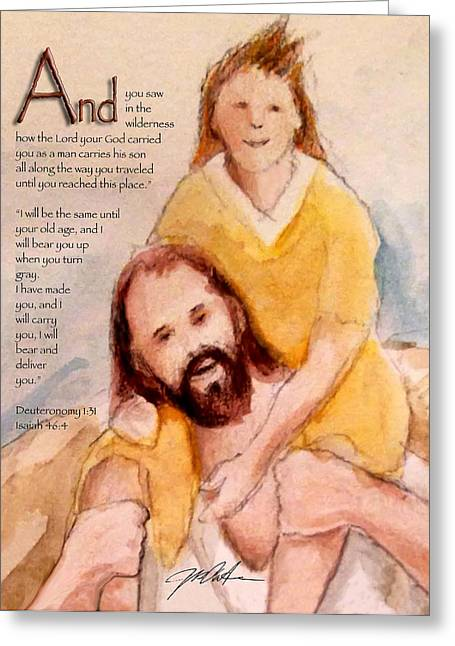 Bible Mixed Media Greeting Cards - God Will Carry You 2 Greeting Card by Ron Cantrell