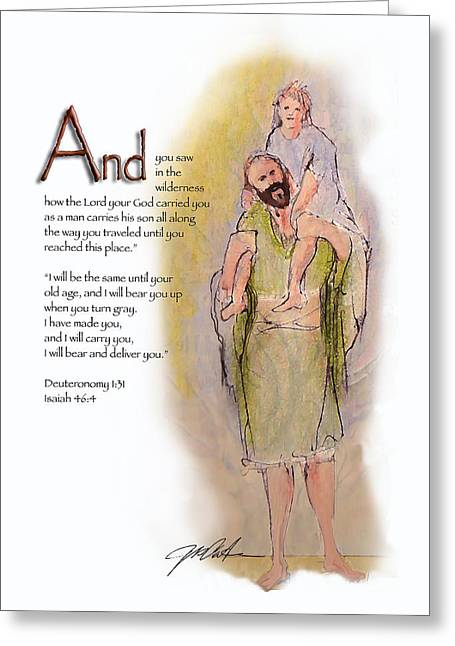 Bible Mixed Media Greeting Cards - God Will Carry You Greeting Card by Ron Cantrell