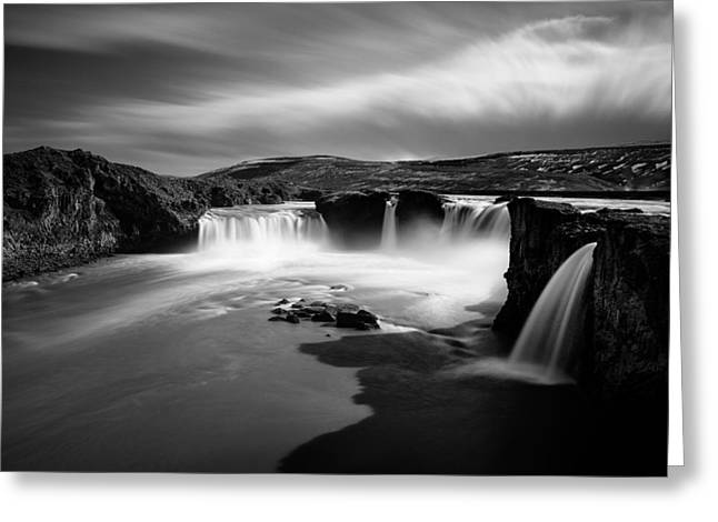 Black And White Waterfall Greeting Cards - Godafoss Greeting Card by Dave Bowman