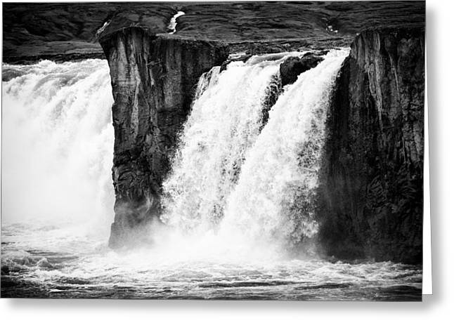 Bw Waterfalls Greeting Cards - Godafoss waterfall Iceland black and white Greeting Card by Matthias Hauser