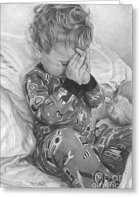 Pajamas Greeting Cards - Good Night Prayers Greeting Card by Beloved Portraits Patti Bradeis