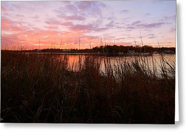 Autumn Art Greeting Cards - Goddard Sunset Greeting Card by Lourry Legarde
