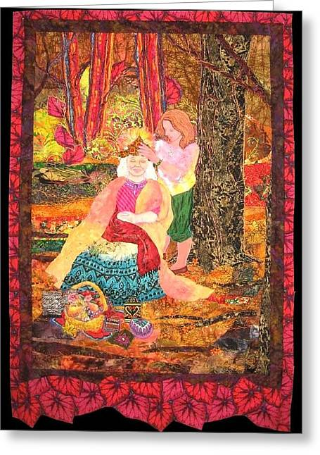 Outdoors Tapestries - Textiles Greeting Cards - Goddess Crowning Greeting Card by Carol Bridges
