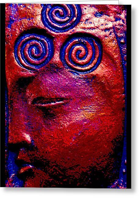 Spiritual Ceramics Greeting Cards - Goddess Dreaming Greeting Card by Susanne Still