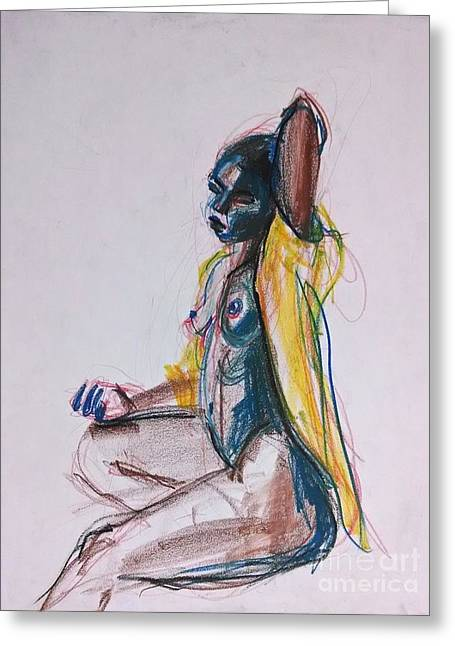 Lounging Pastels Greeting Cards - Goddess Greeting Card by Gabrielle Wilson-Sealy