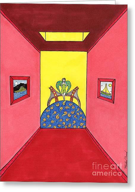California Beach Art Drawings Greeting Cards - Goddess hall to G.G. Bridge Greeting Card by Michael Friend