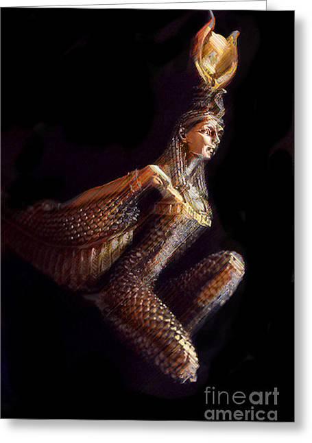 Winged Goddess Mixed Media Greeting Cards - Goddess Isis Greeting Card by Brian Raggatt